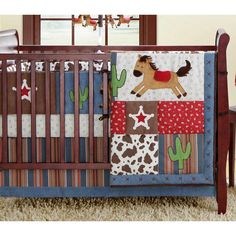 Rodeo Roundup Cowboy Red Brown and Denim 8 Piece Crib Bedding Set