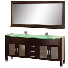 "71"" Daytona Double Bathroom Vanity Set - Espresso w/ Drawers #BathroomRemodel #BlondyBathHome #BathroomVanity  #ModernVanity"