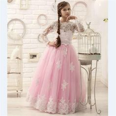 Cheap dresses for big hips, Buy Quality dress patterns prom dresses directly from China dress up plain dress Suppliers: 			Hot Pink Floor Length Flower Girl Dresses Long Sleeves 2016 Appliques Pageant Dresses for Little Girls Hot Design&nbs