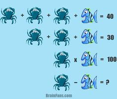 Brain teaser - Kids Riddles Logic Puzzle - Math for kids - Fish & crab logic puzzle for you to solve. Take one minute and try this easy puzzle.