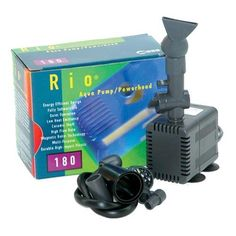 RIO MINI 180 AQUA PUMP POWER HEAD (120GPH) by Rio. $16.99. Can be used indoors with either saltwater or freshwater. It provides quiet operation via a sealed internal housing and do not use oil.. Energy efficient design. Fully submersible. Quiet operation. Low heat emittance. Ceramic shaft. High flow rate. Magnetic rotor technology. Max flow rate 120 G.P.H.