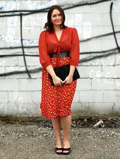 Red polka dot vintage midi-skirt and tie neck blouse
