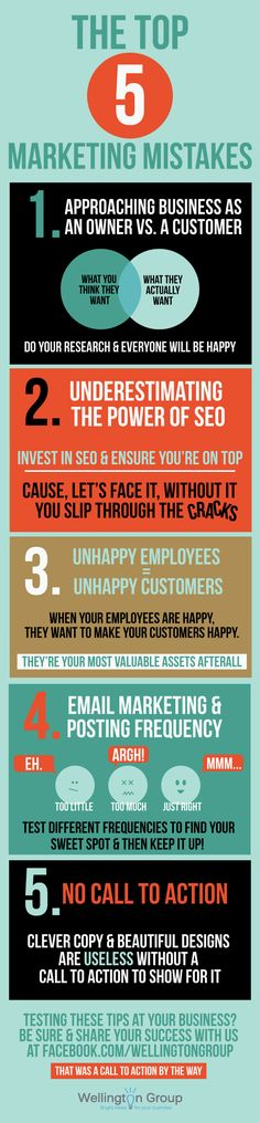 Top 5 Marketing Mistakes Businesses Make #Infographic I am so tired of Penguin…
