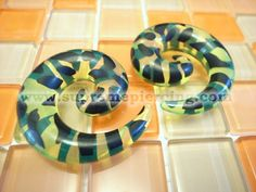 "1/2"" 12mm Leopard Yellow Spiral Ear Expanders Taper Stretchers"