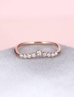 Curved wedding band women Rose gold Diamond ring Art deco