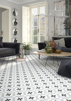 Se hvor lekkert det blir med flis i stua! Her er det brukt Vives 1900 Calvet Gris 😍 Best Flooring, Kitchen Flooring, Küchen Design, House Design, Vintage Industrial Decor, Wall And Floor Tiles, Floor Patterns, Interiores Design, Home Fashion