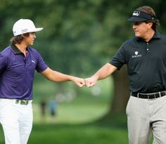 Lefty and Rickie Fowler winning their practice round match at the 2013 PGA Championship