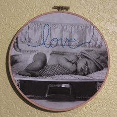 Embroidery on Photo in Hoop...  You choose the photo and embroidered word.