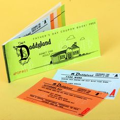 Couponbook in the style of classic Disneyland tickets for Father's Day.    http://family.go.com/printables/article-651492-daddyland-coupon-book-t/
