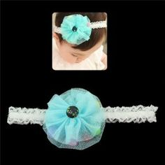 """Girls White Lace Stretch Headband with Mesh Flower and Colorful Beads Blue by Crystalmood [Hair Jewelry]. $12.80. All measurements are approximate.. Flower: 2.75"""" in diameter; headband: 0.8"""" wide, 15"""" in circumference while not stretched.. Let beauty bloom before your very eyes with a touch of a floral bloom. Embellished with a fabric flower with colorful balls inside petals on a lacy elastic hair band, this piece is all about innocent charm and enchanting style."""