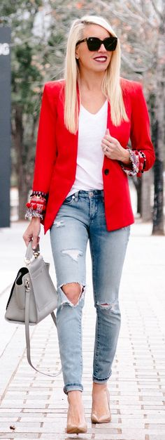 Red Blazer / White Tee / Destroyed Skinny Jeans / Grey Leather Tote Bag
