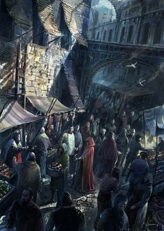 """Market tutorial by neisbeis. Setting inspiration for the cities Soesa/Phore (Story: """"Taline"""") Fantasy Town, High Fantasy, Fantasy Rpg, Medieval Fantasy, Fantasy World, Fantasy Concept Art, Fantasy Artwork, Fantasy Paintings, Dungeons And Dragons"""