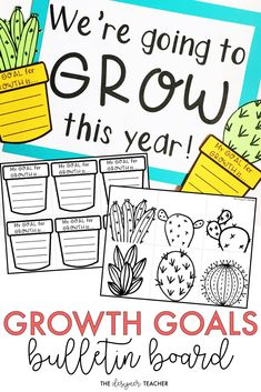 Create a garden full of growth goals for your bulletin board with this growth mindset, cactus theme bulletin board kit! Includes a low-prep version and a craftivity version, plus several different headers! {from The Designer Teacher} 3rd Grade Classroom, School Classroom, Classroom Themes, Classroom Activities, Classroom Design, Classroom Organization, Future Classroom, Garden Theme Classroom, Seasonal Classrooms