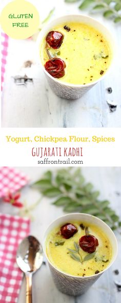 Recipe for Gujarati Kadhi - A yogurt based soup, thickened with besan (chickpea flour) and flavoured with a select few spices, best had with Khichdi, Pulao or Steamed Rice. Healthy Indian Recipes, Vegetarian Recipes Easy, Curry Recipes, Cooking Recipes, Vegetarian Food, Gujarati Kadhi Recipe, Gujarati Recipes, Indian Dinner Menu, Rajasthani Food