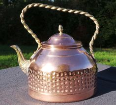 French Copper Kettle with Copper and Brass Fittings Old Tin Lined Water Tight
