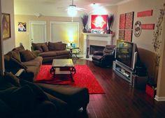 Here is our Arkansas Razorback living room :)