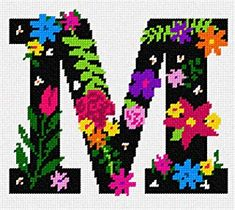 The Letter H Flowering Needlepoint Kit or Canvas Floral//Alphabet//Letters