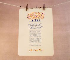 Fall Wedding Invitation  Save the Date  by EnveloveInvitations