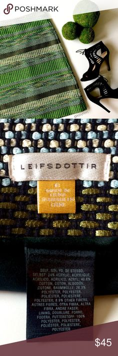 ANTHRO Leifsdottir tweed skirt This gorgeous skirt is woven with thick threads of neon green, pastel blue, black, metallic gold/copper, pastel yellow, and white. Has the look of heavy wool without the itchiness. In excellent used condition. Back zipper with grosgrain pull. Fully lined. Great for work with a button down and blazer, or dressed up with a black sequined tank or silk cami and heels. Anthropologie Skirts Pencil