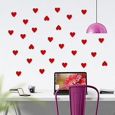Mini Hearts Vinyl Wall Words Decal Sticker Graphic. Mini hearts wall decals come in pack of 30 and all measure 3 inches each. Application instructions are included. Some decals may come in multiple pieces due to the size of the design. Our vinyl graphics are easy to apply to any smooth surface. Put them on walls, wood, glass, tile, windows, canvas, ceramics, the possibilities are endless! These work on many different wall surfaces including textured walls. Your graphic will last…