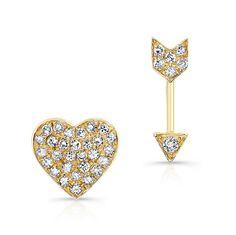 """14KT Yellow Gold Diamond Cupid Earrings Diamond Heart & Arrow Earrings Arrow measures 3/8"""", Heart measures 1/4"""""""