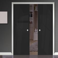 Eclisse 10mm Gloss Black Solid Colour Glass Double Pocket Door - 9005.    #colourglassdoors  #doubleglassdoors  #framelessdoors Double Glass, Doors, Storage, Tall Cabinet Storage, Solid Color, Pocket Doors, Home Decor, Glass Pocket Doors, Color