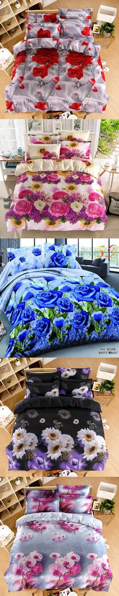 Home textiles New The red pink flower 3D 4pcs Bedding Sets Cover Bed Sheet Bedclothes,Cotton/Polyester queen