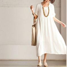 dcf32a9449b3 White casual linen sundress short Sleeve maxi dress summerThis dress is  made of cotton linen fabric