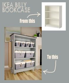 from ikea billy bookcase to craft cart, chalk paint, craft rooms, crafts, organizing, painted furniture