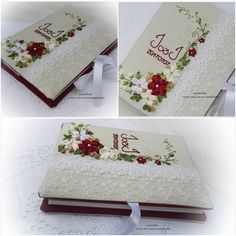 #esküvőifotóalbum #egyedihímzettfotóalbum Brazilian Embroidery, Ribbon Embroidery, Gift Wrapping, Ideas, Book Log, Glasses, Bias Tape, Books, Dressmaking