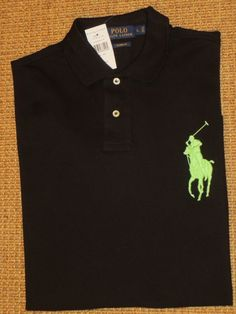 POLO RALPH LAUREN MEN'S  POLO SHIRT LARGE  BLACK BIG PONY  NEW  $98 TAG #POLORALPHLAUREN #PoloRugby