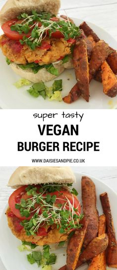 Super tasty vegan burger recipe - packed with flavour and oh so easy to make! Fab as a vegan family dinner #veganrecipe #vegan #easyrecipe #burger #familydinner