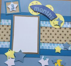 """Two 12"""" x 12"""" pre-made scrapbook pages for your baby boy's 3 month pictures by Carolsues on Etsy"""