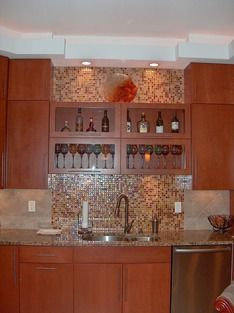 Shiny Blacksplash Kitchen Designs With Built In Lighting Details Soffet And Cabinets Brew Express Coffee Makers