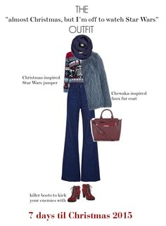 """""""Christmas Countdown: Outfit Edition"""" by freddarling ❤ liked on Polyvore featuring Natasha Zinko, Nine West, Topshop, BP., Oasis, starwars, uglychristmassweater, christmascountdown and Christmas2015"""
