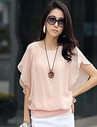 Women's Fashion Ruffle Short Sleeve Loose Chiffon Blouse