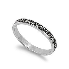 3mm Rhodium Plated Black Silver Marcasite Wedding Band Ring