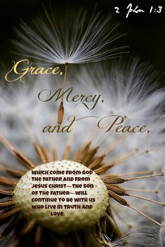 2 John 1:3 Grace, mercy, and peace, which come from God the Father and from Jesus Christ—the Son of the Father—will continue to be with us who live in truth and love.