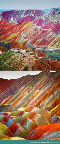 Rainbow Mountains, China. I never knew these existed.  Tripadvisor has some great photos too.