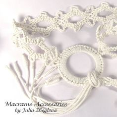 RESERVED Macrame belt with tassel and ring white by makrame, $30.00
