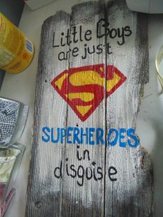 "30"" Little boy's superhero super hero bedroom sign wall hanging custom. by Fivedaughtersandamom on Etsy"