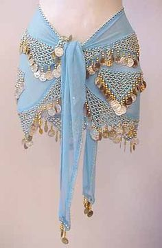Shakira Sky Blue Belly Dance Wrap 3 Lines of Beads and Coins $19.99