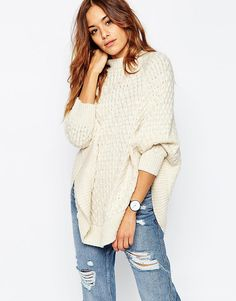 ASOS Knitted Cape In Cable Stitch