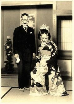 Maybe You can Tell Me… About this historical photo. Here we have what looks like a wedding photo, yet the bride and groom are wearing masks that are used in Noh plays (traditional Japanese theatre). This mask tends to represent a jealous female demon/yokai. It's referred to as a hannya. So… what's it doing on this couple? Every now and again I find some interesting odds and ends I can't puzzle out. What are your thoughts? …. more at kawaiistudyjapan.com