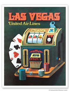 Las Vegas ~ United Air Lines vintage travel poster with old slot machine