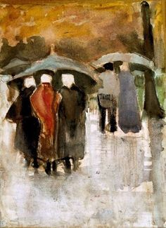 Van Gogh, In the Rain, 1882. Watercolor on paper, 29.4 x 21.6 cm.