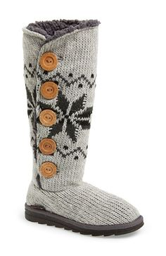 MUK LUKS 'Malena' Button Up Crochet Boot