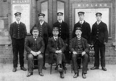 A posed photograph of Alcester station staff with both the Great Western Railway and Midland Railway station masters present circa 1910 Matlock Bath, Great Western, Anne Of Green Gables, Masters, Trains, British, Photograph, History, Planes