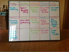 Weekly activity schedule in parent corner at home daycare.  Use a cheap picture frame.  Write the outline on a paper in the frame and use dry erase marker to update each week.  super easy!  Learn Laugh Grow Child Care