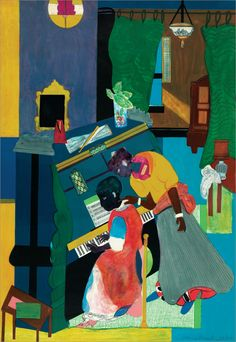 Romare Bearden - Homage to Mary Lou (The Piano Lesson): Graphic Print. Lithograph in colors on Arches Paper. African American Artist, American Artists, Piano Lessons, Art Lessons, Op Art, Romare Bearden, Dada Art, Collage Artists, Arts Ed